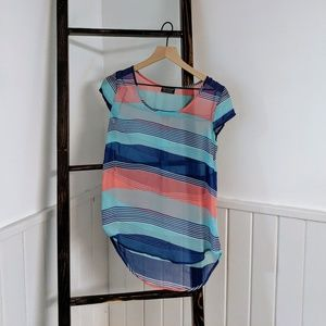 Papermoon XS Sheer Striped Short Sleeve Blouse